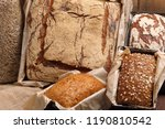 different types of bread and... | Shutterstock . vector #1190810542