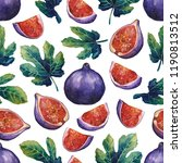 watercolor fig fruits and... | Shutterstock . vector #1190813512