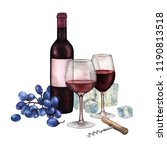 two watercolor glasses of red... | Shutterstock . vector #1190813518
