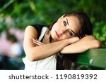 beautiful young woman with blue ... | Shutterstock . vector #1190819392