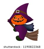 pumpkin witch riding blooms... | Shutterstock .eps vector #1190822368