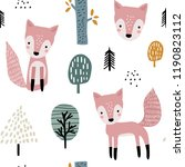 semless woodland pattern with... | Shutterstock .eps vector #1190823112
