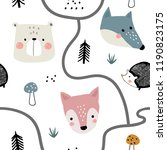 semless woodland pattern with... | Shutterstock .eps vector #1190823175