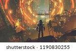 sci fi scene of the astronaut... | Shutterstock . vector #1190830255