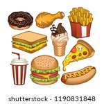 set fast food colorful. vector... | Shutterstock .eps vector #1190831848