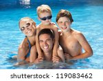 family having fun in swimming... | Shutterstock . vector #119083462
