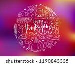 vector greeting thanksgiving... | Shutterstock .eps vector #1190843335
