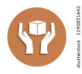 hand and box icon in badge... | Shutterstock . vector #1190851642