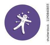 voodoo doll icon in badge style....