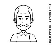 old man bald with mustache... | Shutterstock .eps vector #1190866495
