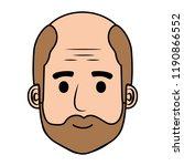 head old man bald with beard... | Shutterstock .eps vector #1190866552