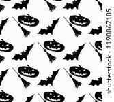 broom and pumpkin bats... | Shutterstock . vector #1190867185