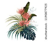 tropical flowers  palm leaves ... | Shutterstock .eps vector #1190877925