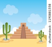 desert with mayan culture... | Shutterstock .eps vector #1190881558