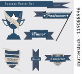Set of success and achievement badges and elements in vector - stock vector