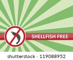 Shellfish free banner for food allergy concept - stock vector