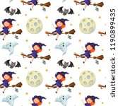 watercolor halloween pattern... | Shutterstock . vector #1190899435