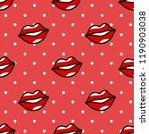 red lips pattern in cartoon... | Shutterstock . vector #1190903038