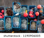 boxes of fishing nets  buoys... | Shutterstock . vector #1190906005