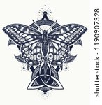 butterfly tattoo celtic style.... | Shutterstock .eps vector #1190907328