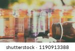 pour the white pills out of the ... | Shutterstock . vector #1190913388