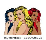 fashion woman pop art style.... | Shutterstock .eps vector #1190925328