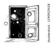 open door in universe tattoo.... | Shutterstock .eps vector #1190925418