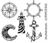 sea elements collection vintage ...   Shutterstock .eps vector #1190925502