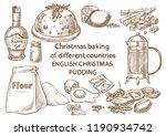 christmas baking. ingredients... | Shutterstock .eps vector #1190934742