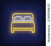 double bed neon sign. luminous... | Shutterstock .eps vector #1190938615