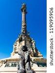 the Columbus Monument in Barcelona, Spain - stock photo