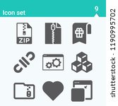 contains such icons as cube ...   Shutterstock .eps vector #1190995702