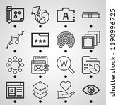 simple set of  16 outline icons ... | Shutterstock .eps vector #1190996725