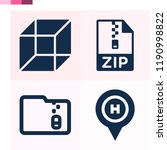 contains such icons as cube ...   Shutterstock .eps vector #1190998822