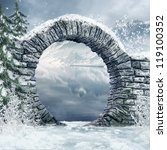 Ruined Stone Gate In A Snowy...