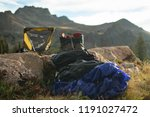 hiking gear arranged with... | Shutterstock . vector #1191027472