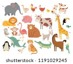 cartoon animals. cute elephant... | Shutterstock .eps vector #1191029245