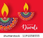 happy diwali wallpaper design... | Shutterstock .eps vector #1191058555
