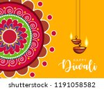 happy diwali wallpaper design... | Shutterstock .eps vector #1191058582