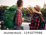 hikers with backpacks makes... | Shutterstock . vector #1191075988
