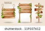wooden signs with green leaves... | Shutterstock .eps vector #119107612