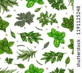 seamless pattern  culinary herb ... | Shutterstock .eps vector #1191125248