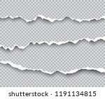 vector set of torn paper edges... | Shutterstock .eps vector #1191134815
