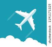 plane fly on blue cloud sky... | Shutterstock .eps vector #1191171325