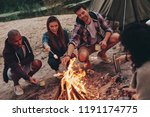 joy of camping. group of young... | Shutterstock . vector #1191174775