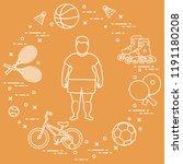 fat boy  badminton rackets and... | Shutterstock .eps vector #1191180208