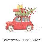 Christmas Car   Girl And Dog...