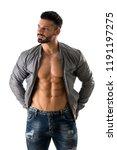 muscular bodybuilder undressing ... | Shutterstock . vector #1191197275