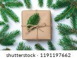 christmas gift with fir... | Shutterstock . vector #1191197662
