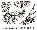 halloween. set cobwebs. vector... | Shutterstock .eps vector #1191198712